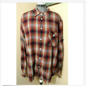 MARTIN GORDON Plaid Shirt XL Red Gray Black button
